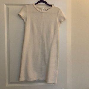 White ribbed cap sleeve dress